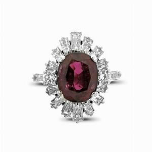 Oval Ruby & Baguette Cut Diamond Cluster 3.76ct